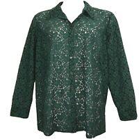 CHARTER CLUB Lace Shirt Sz 20W Green Long Slv Button Front Cotton Dressy #1215