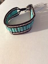 $35 LUCKY BRAND Turquoise Reconstituted Calcite and Rock Crystal Bracelet O172
