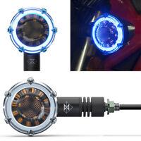 2x Wasserdichte LED Motorrad dekorative Blinker Tagfahrlicht Lampe Blaues Licht