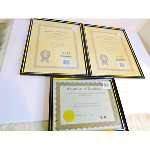 Black & Gold Metal Picture Document  Certificate Frames SET OF 3