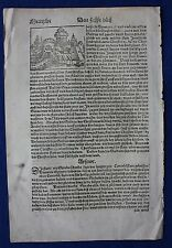 Orig. antique woodcut print, AFRICA EGYPT page of Munster's COSMOGRAPHIA, c.1578