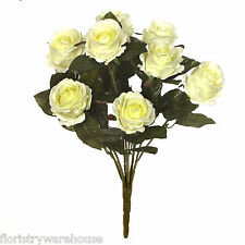 Artificial silk vintage Rose flowers bouquet 50cm Cream Roses 9 stems