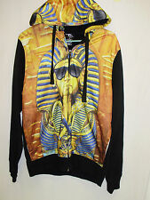 Akademiks KING TUT Egypt Hip Hop Bling Men's Zip Front Sweats L/S Hoodie Large L