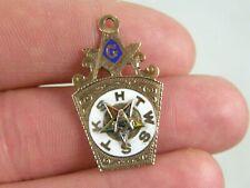 Vintage Antique 10K Solid Gold Enamel Masonic Mason's Watch Fob Keystone Pendant