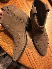509c69262966e3 Sam Edelman Brian Studded Western Booties 8m Brown Suede Leather New  195