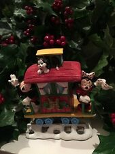DISNEY MICKEY MINNIE MIOUSE wave On Caboose Christmas Train Village Figure RARE