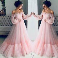 Women's Bell Sleeve Long Mesh Maxi Dress Off Shoulder Wedding Evening Ball Gown