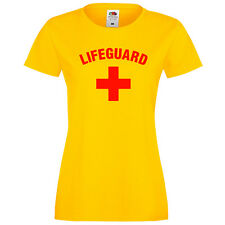 LADIES LIFEGUARD + YELLOW FITTED T-SHIRT BEACH LIFE GUARD PARTY FANCY DRESS TOP
