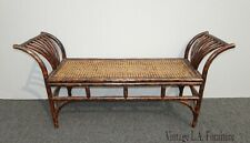 Vintage French Country Bamboo & Cane Bench w Wide Armrests