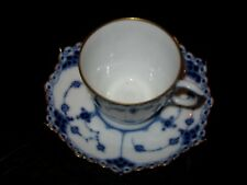 ROYAL COPENHAGEN Blue Fluted Full Lace Gold Trim Demitasse Cup+Saucer w/Sm.Chip