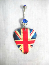 UK AGED LOOK FLAG UNION JACK BRITISH EMPIRE GUITAR PICK 14g BLUE CZ BELLY RING