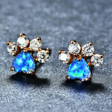 Cut Cat Claw Design Blue Fire Opal  Topaz Rose Gold Plated Stud Hook Earrings