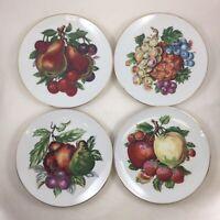 Vtg Price Imports Japan Set of 4 Decorative Plates Fruit Apple Grapes Pineapple