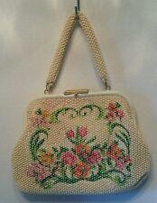 Vintage Beaded Cream & Multi Color Flower Purse Hand Bag Laura USA