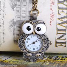 """HP 1PC Bronze Tone Necklace Chain Owl Quartz Pocket Watch 85cm(33-1/2"""")"""