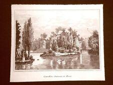 Desio Giardino traversi Incisione su rame all'acquaforte del 1835 Audot