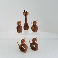 Rare Vintage 4 Wood Cute Cats Napkin Rings Plus Mid Century Cat Toothpick Holder