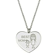"Best Mom Heart Necklace 925 Sterling Silver 16"" + 2"" extension"