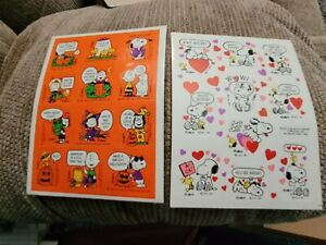 2 Sheets Vintage Stickers - Snoopy/Peanuts - Halloween & Valentine's Day