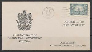 1948 Canada FDC #277 Victoria & George VI ~ Responsible Government (1848-1948)