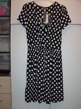 SOUTH LADIES BLACK AND WHITE SPOTTED DRESS UK SZ 10 NEW