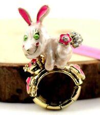 Charm Betsey Johnson Fashion Jewelry rhinestone Bow Flowers dog Elasticity Ring
