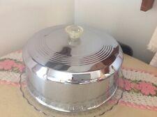 Vintage Chrome Cake Cover Glass Plate
