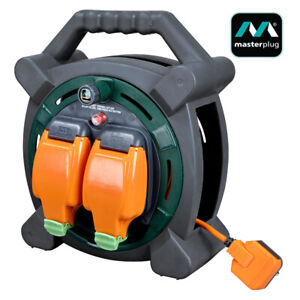 Masterplug 20m Outdoor Mains Extension Cable Reel IP54 with Weatherproof Sockets