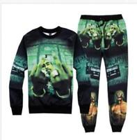 Men 3D Tupac 2PC Print Cool Green Sweatshirt Tops Jogger Women Pants Hip Hop Set