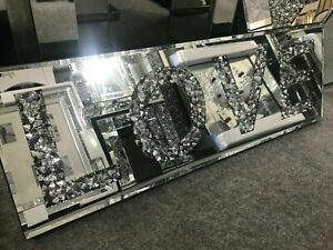 Silver Mirror Diamond crush LOVE sign, Love glitz sparkle wall plaque Wall Art