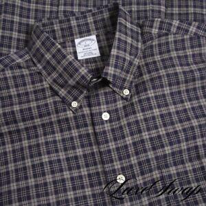 NWT Brooks Brothers Regent Fit Navy Blue Grey Gold Tartan Plaid Dress Shirt L NR