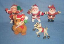 5pc Vtg Lot Flocked Felt Plastic Santa Claus Reindeer Teddy Bear Ornament
