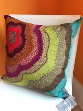 Bohemian Colorful Pillow OOAK Fabric W/ Detail 16 X 16 BEAUTY Throw Pillow DECOR