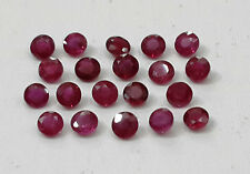 1.54cts 20pc Natural Ruby Lot Round Beautiful Permanent Dark Red Color 2.4-2.5mm