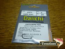 25 x DAIICHI 2571 #6 BOSS STEELHEAD & SALMON HOOKS for WET FLIES NEW FLY TYING