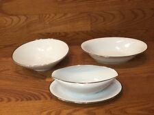 3 Vintage Noritake SILVERDALE 5594 Serving Bowls White & Platinum Trim