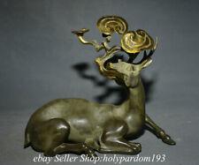 "10.4"" Old China Bronze Gilt Fengshui Deer Glossy ganoderma Longevity Statue"