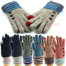 Women Men Winter Snow Gloves Windproof Warm Thick Knit Thermal Insulated Mittens
