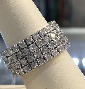 Diamond Eternity Band 5 Carat TCW 18k White Gold Flexible Ring