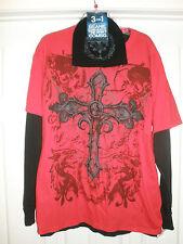 MENS L RED BLACK CROSS DRAGON 3 PC SHIRT SET BEANIE CAP HAT BIKER GOTH PUNK