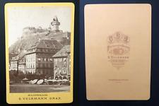 S.Volkmann, Österreich, Graz, Hauptplatz Vintage albumen print, carte cabinet.
