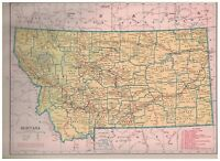 1942 Railroad Map of Montana With A Railroad Map of Nebraska On The Reverse