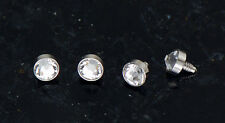 4 Pc 14g 316L Surgical Steel 3 mm Clear Gem Flat Bottom Dermal Anchor Heads Top