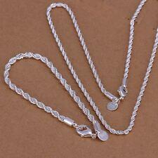 Belle Fashion 925 Sterling Argent plaqué Bracelet Collier Set Bijoux s51
