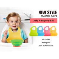 Bib Waterproof Baby Lunch Feeding Silicone Infant Bibs Lovely Baby Cartoon Kids