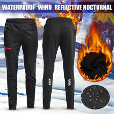 UK Mens Winter Cycling Thermal Long Leggings MTB Winter Bike Reflective Trousers