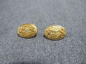 Antique clear rhinestones scrolls goldtone metal cufflinks