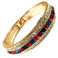 USA Bracelet GOLD large Swarovski ELM CRYSTAL multi-color Square Bangle narrow