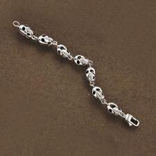 7mm '' Real 10k White Gold Gothic Skull bracelet Men's For Halloween Collection