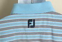 FootJoy FJ Men's blue, black and white short sleeve golf polo shirt Large L